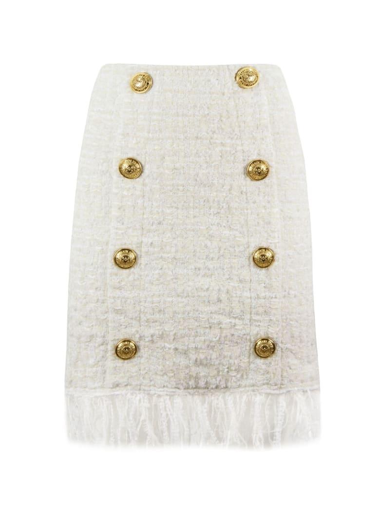 Balmain Short White Tweed Skirt - Bianco