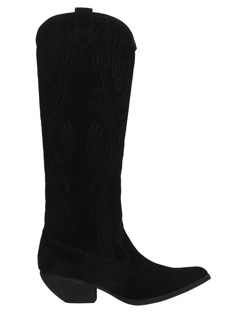 Jeffrey Campbell Calversa Texan Boots In Black Suede - black