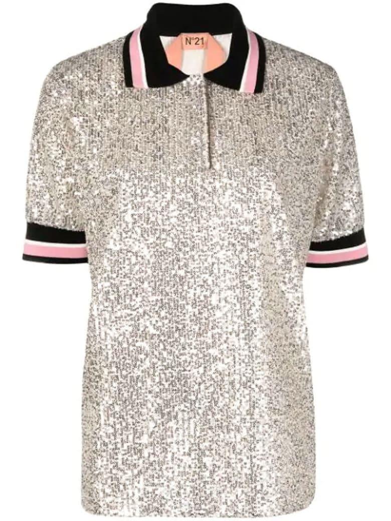 N.21 Silver-tone Sequin Polo Shirt - Argento