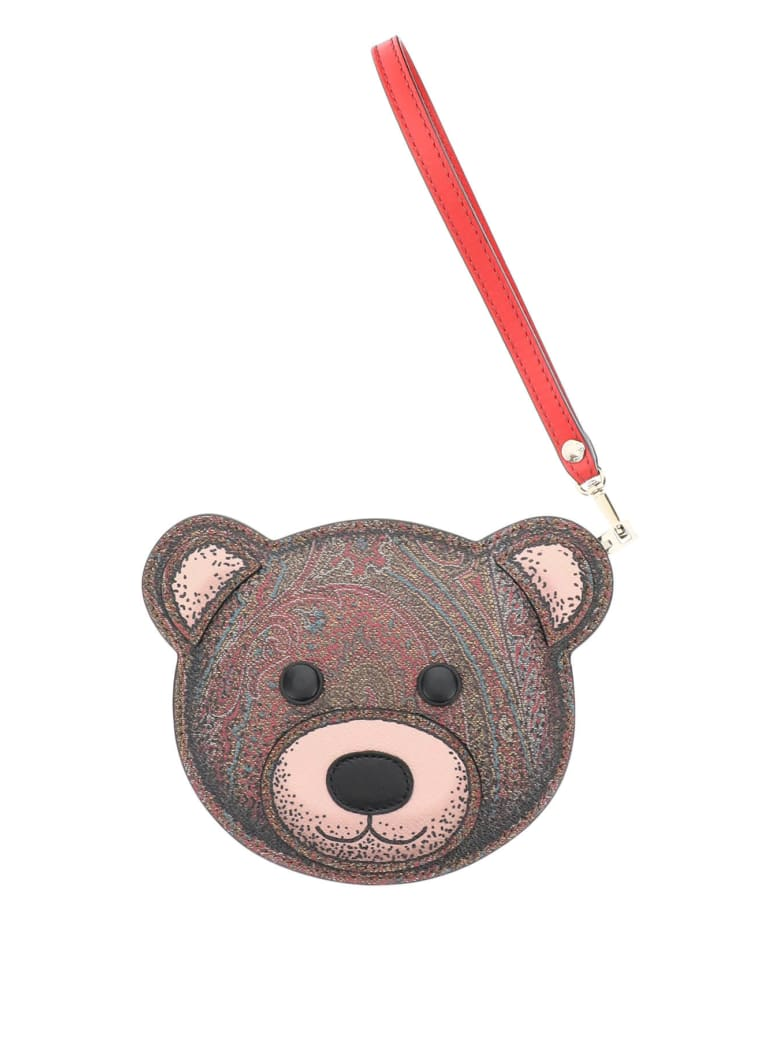 Etro Twister Toys Teddy Bear Pouch Purse - ROSSO (Brown)