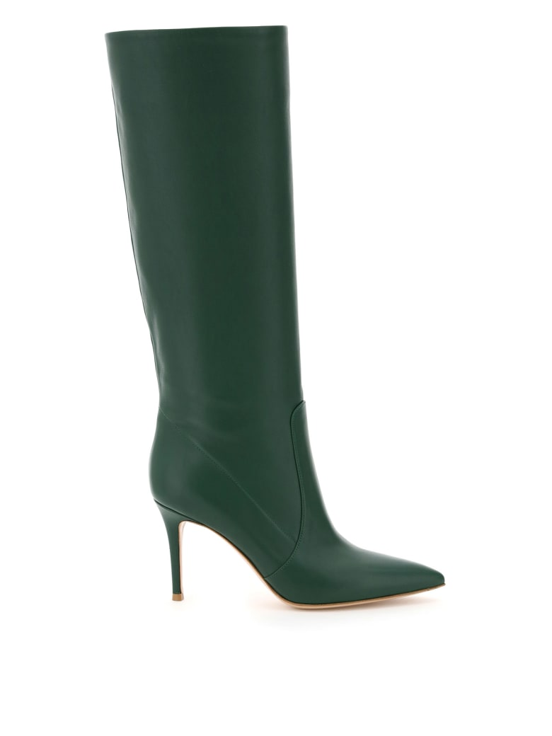 Gianvito Rossi Leather Heeled Boots - LEAF (Green)