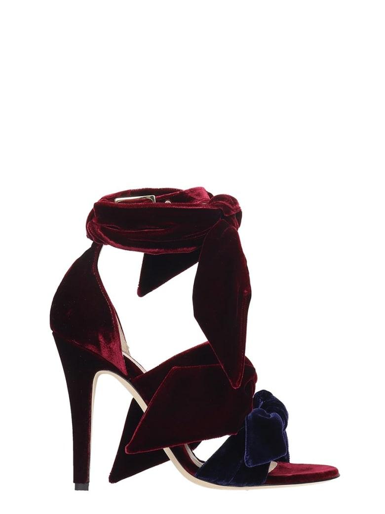 GIA COUTURE Sandals In Bordeaux Velvet - bordeaux