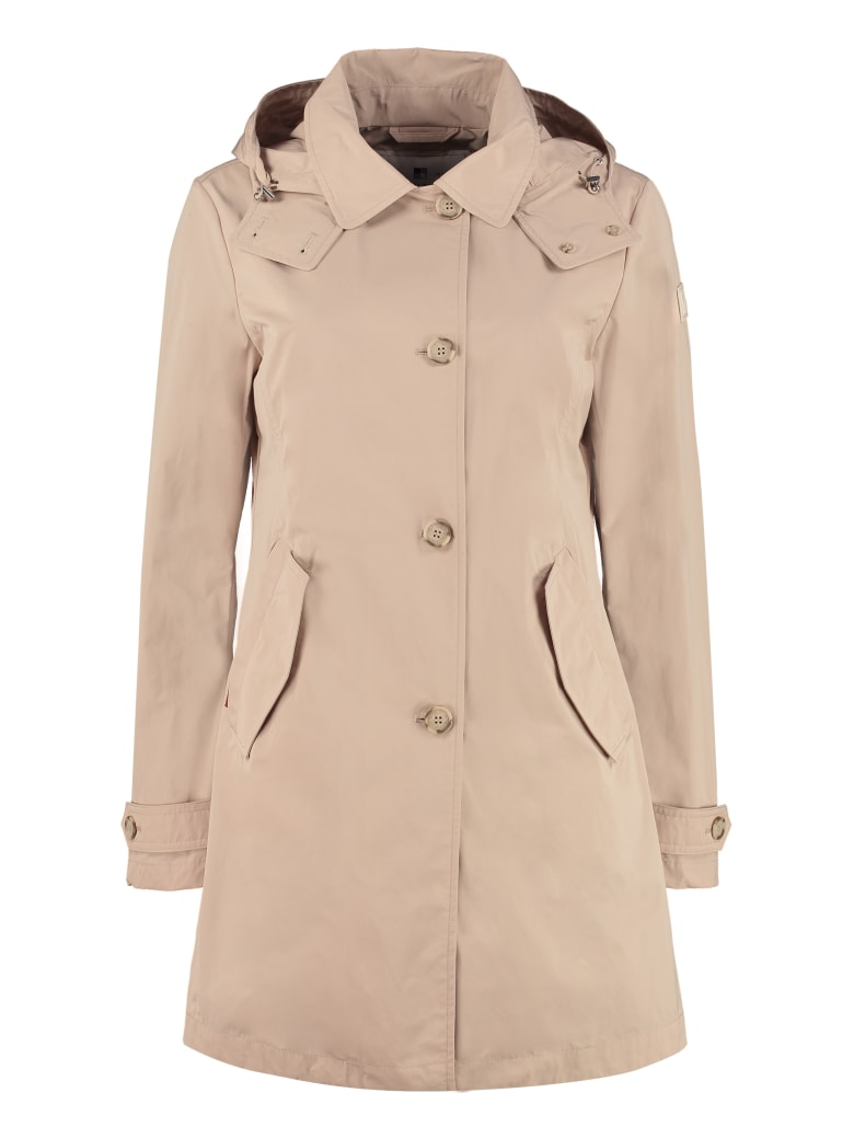 Woolrich Charlotte Hooded Trench Coat - Beige
