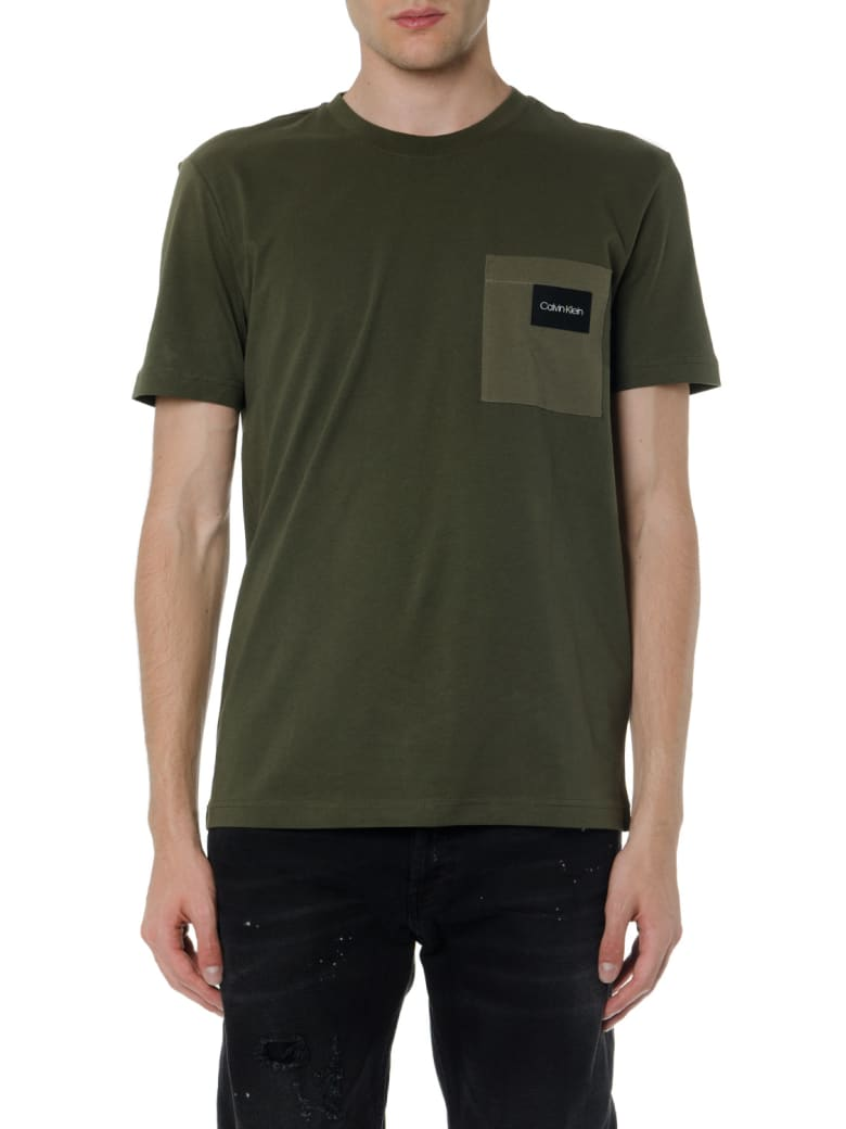 Calvin Klein Green Olive Cotton T Shirt With Pocket - Olive