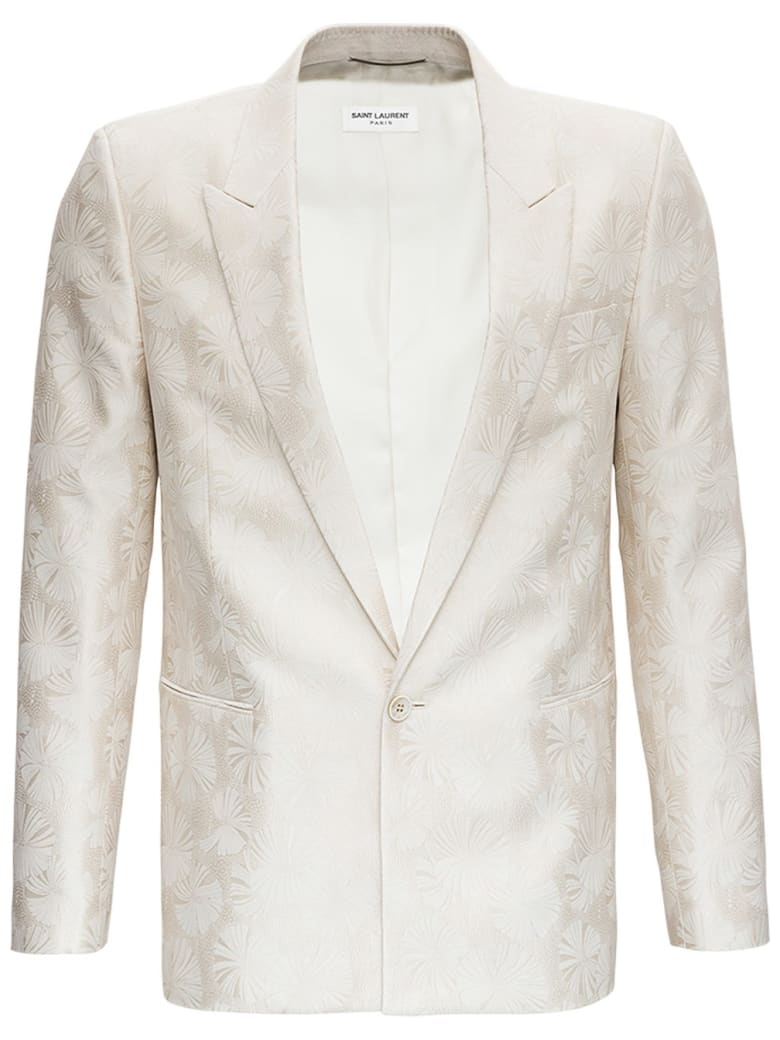 Saint Laurent Veste Blanche Courte Jacket In Silk And Wool Jacquard - White