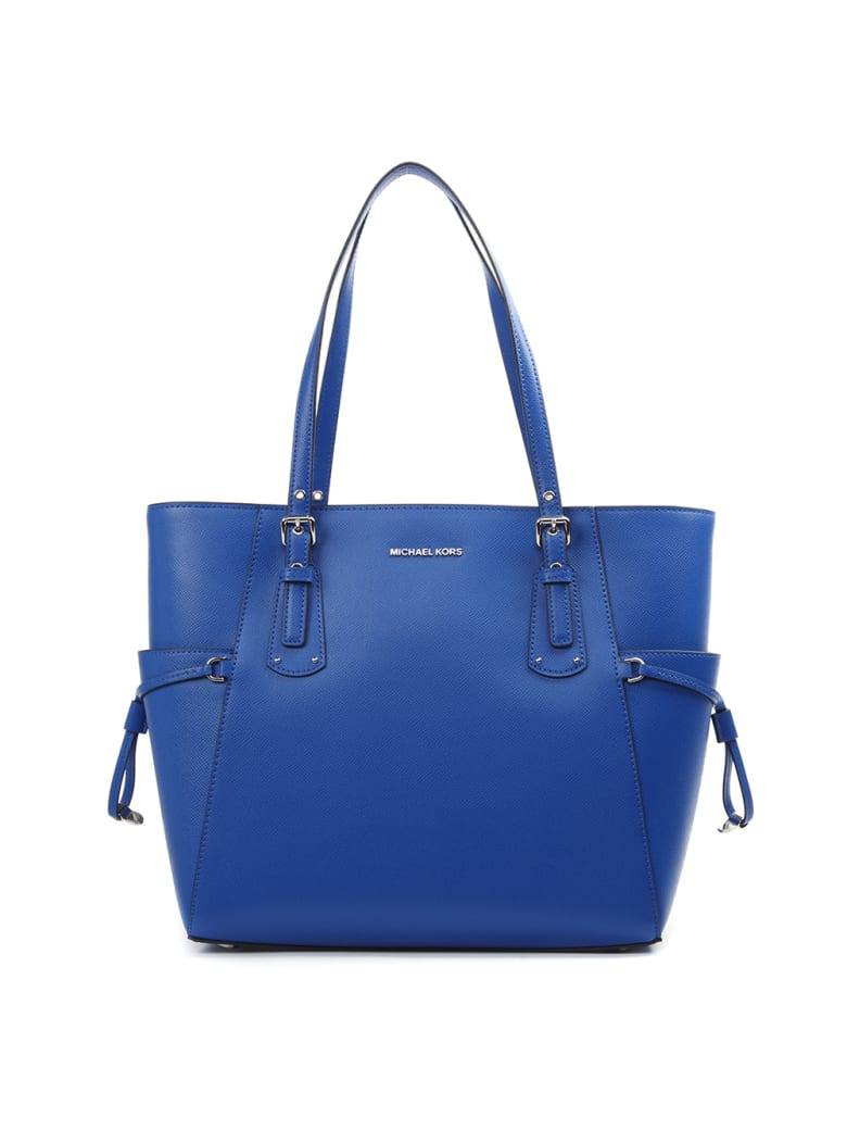 MICHAEL Michael Kors Blue Voyager Cross Leather Tote Leather - Grecian blue