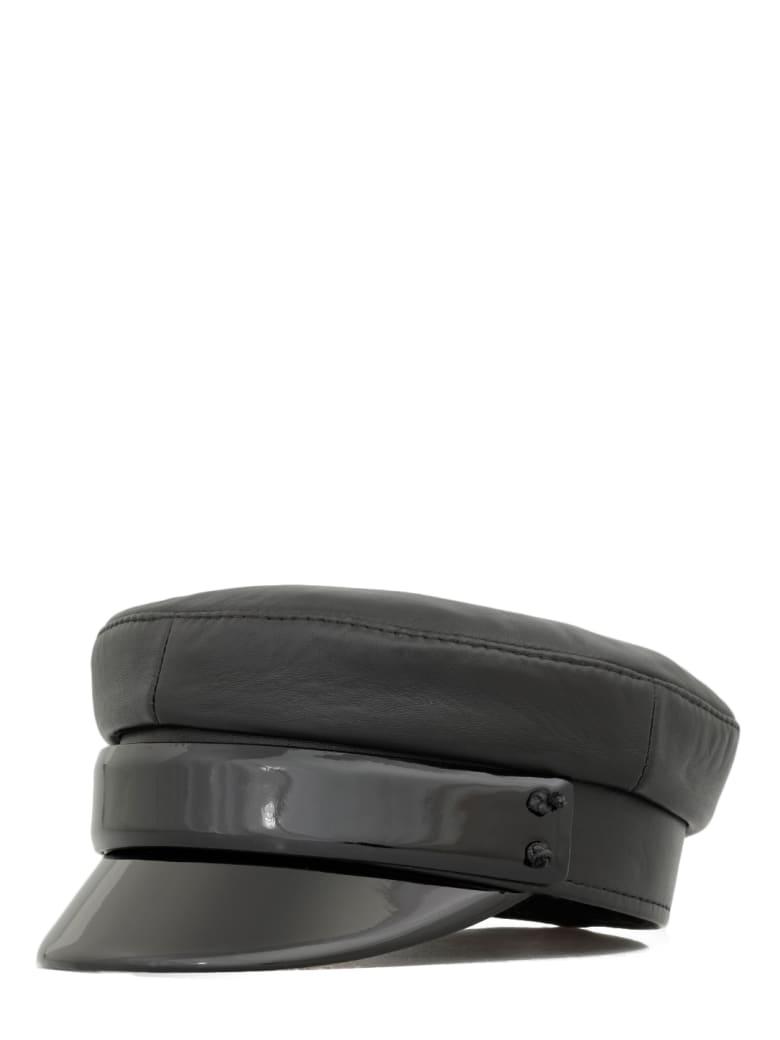 Ruslan Baginskiy Leather Baker Boy Cap - BLACK