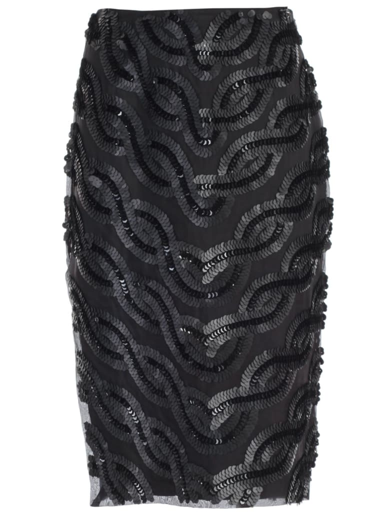 SEMICOUTURE Skirt Franci Pencil Paillettes - Nero