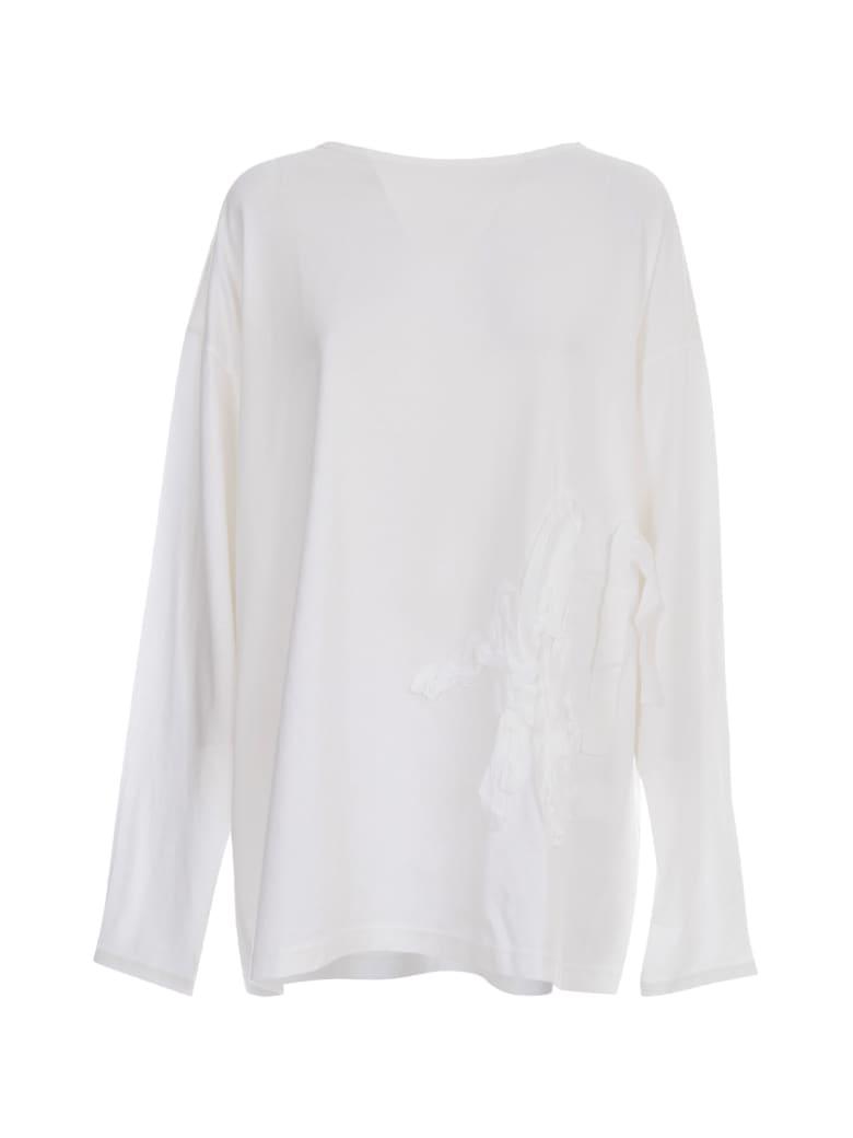 Y's Boat Neck Sweater L/s W/print - White