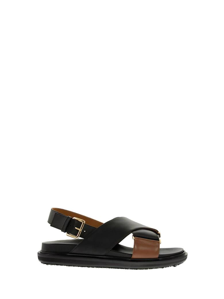 Marni Criss-cross Fussbett Calfskin Sandal - Black/brown