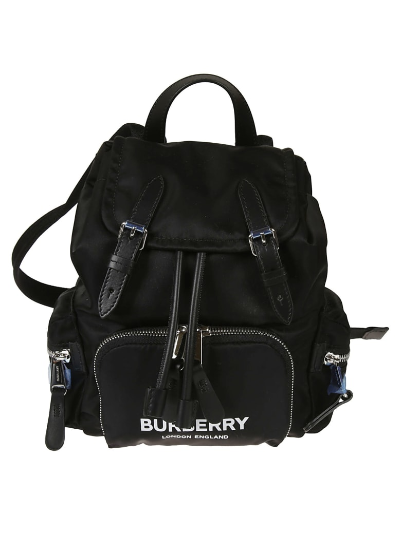 Burberry Front Zip Logo Print Backpack - Black
