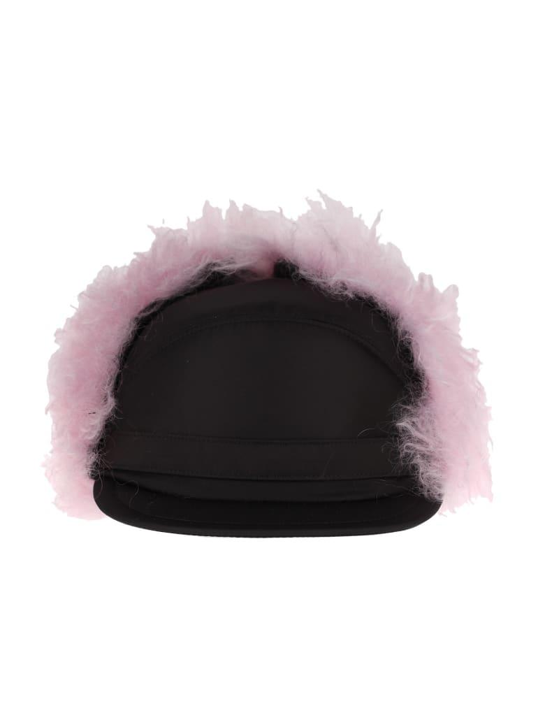 Prada Faux-fur Flap Cap - BLACK+PINK