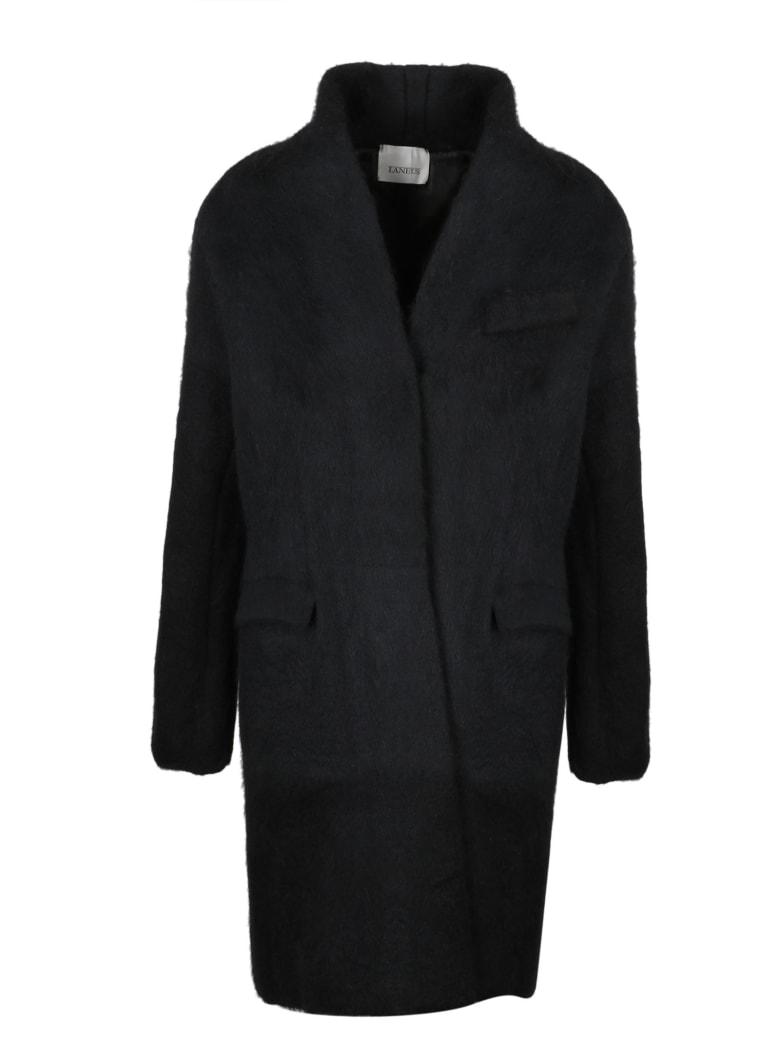 Laneus Combed Alpaca Coat - Black