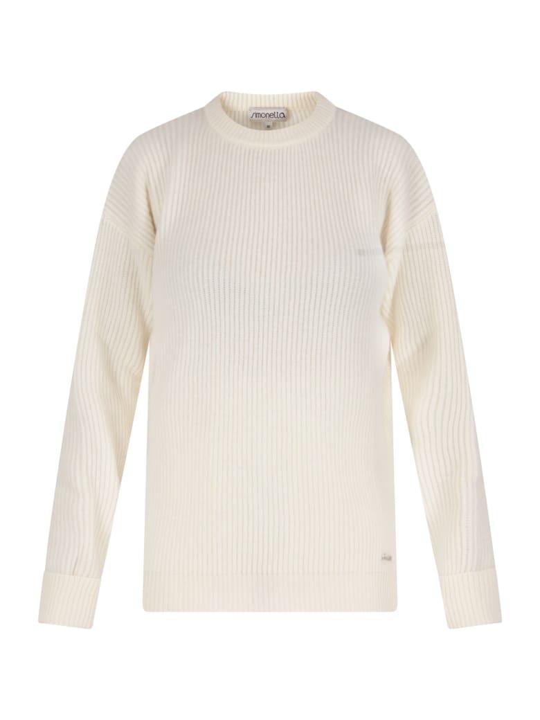 Simonetta Ivory Sweater For Girl With Logo - Ivory