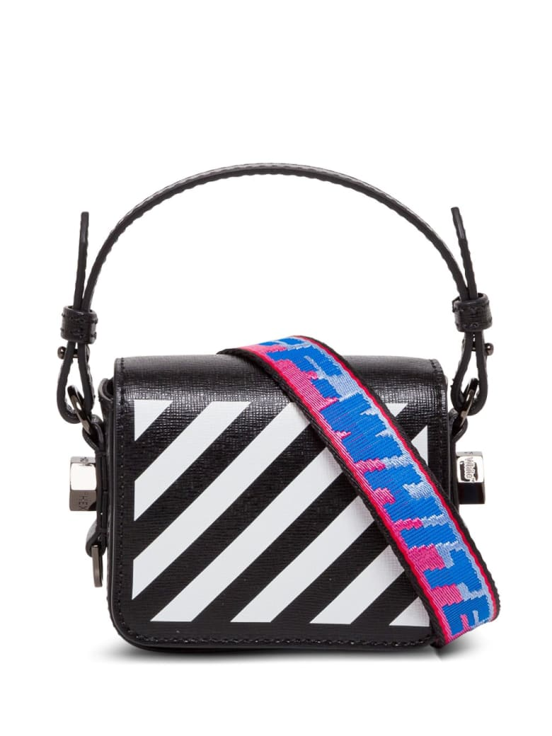 Off-White Diagonal Leather Crossbody Bag - Black