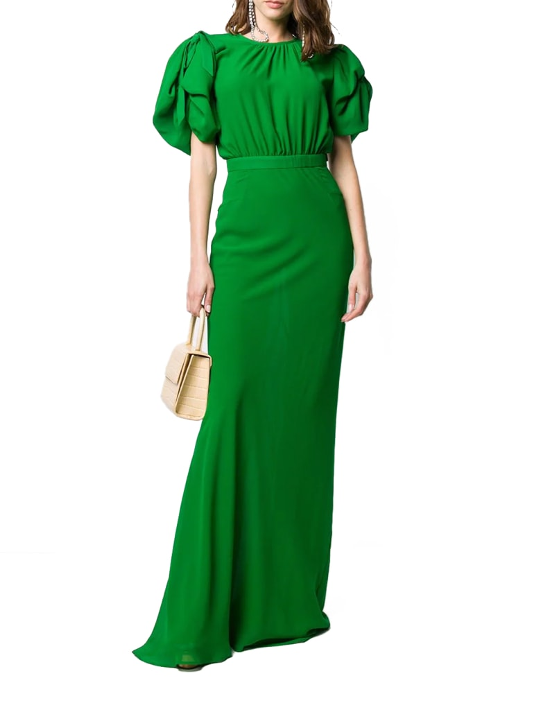 Alessandra Rich Long Green Silk Dress - Green
