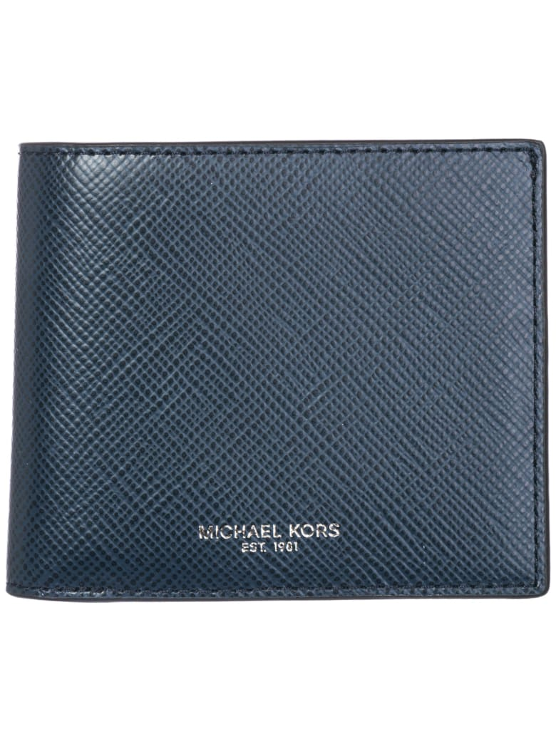 Michael Kors  Genuine Leather Wallet Credit Card Bifold Harrison - Navy