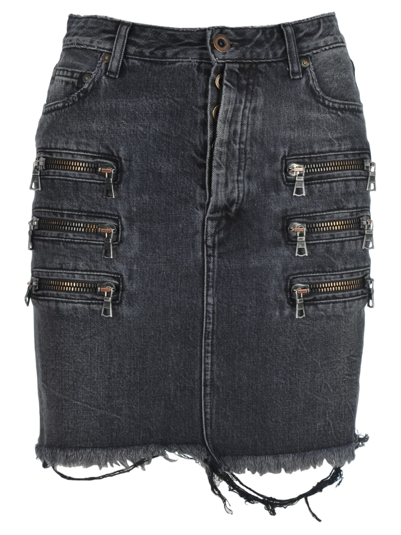 Ben Taverniti Unravel Project Unravel Zip-detail Distressed Denim Skirt - BLACK RINS