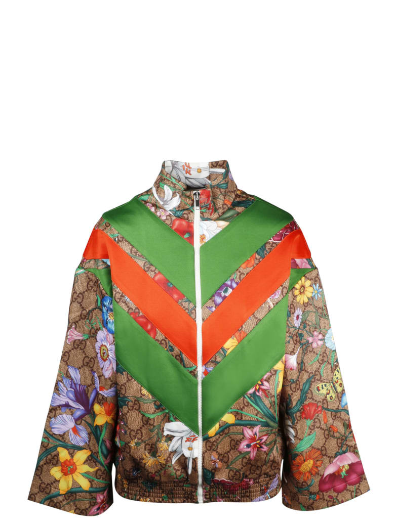 Gucci Gg Flora Print Jacket - camel