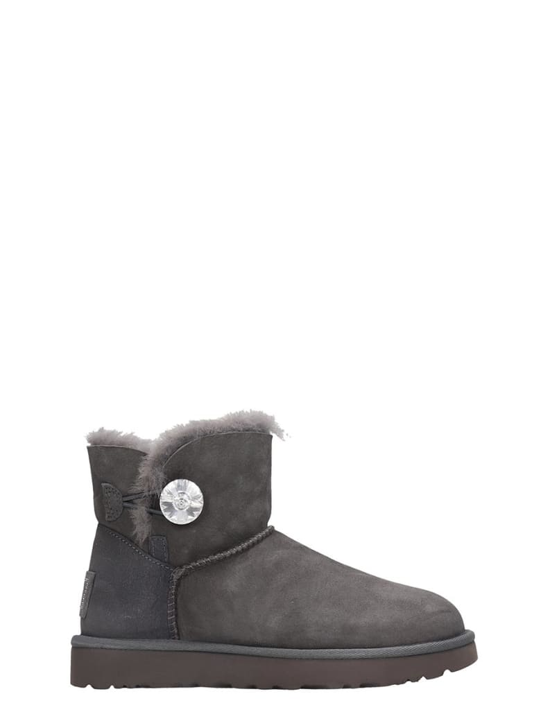UGG Mini Bailey But Low Heels Ankle Boots In Grey Suede - grey
