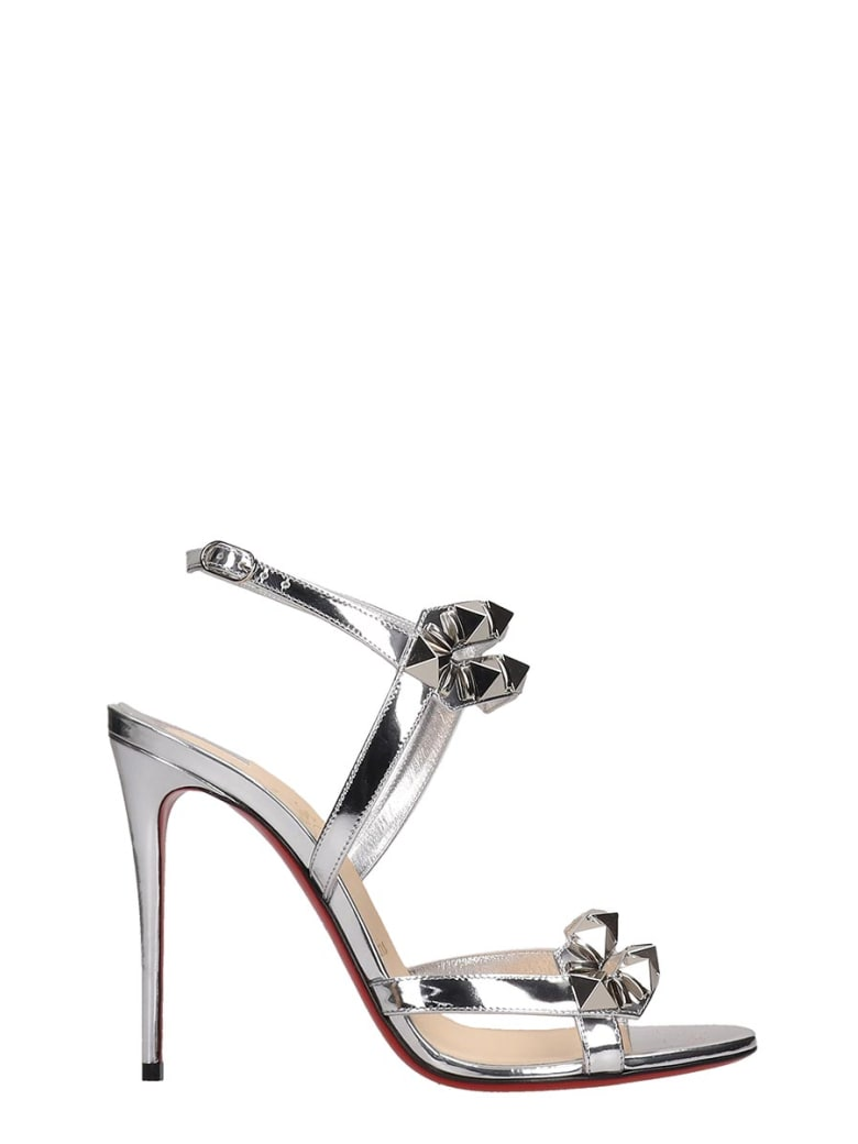 Christian Louboutin Galerietta 100 Sandals In Silver Leather - Argento