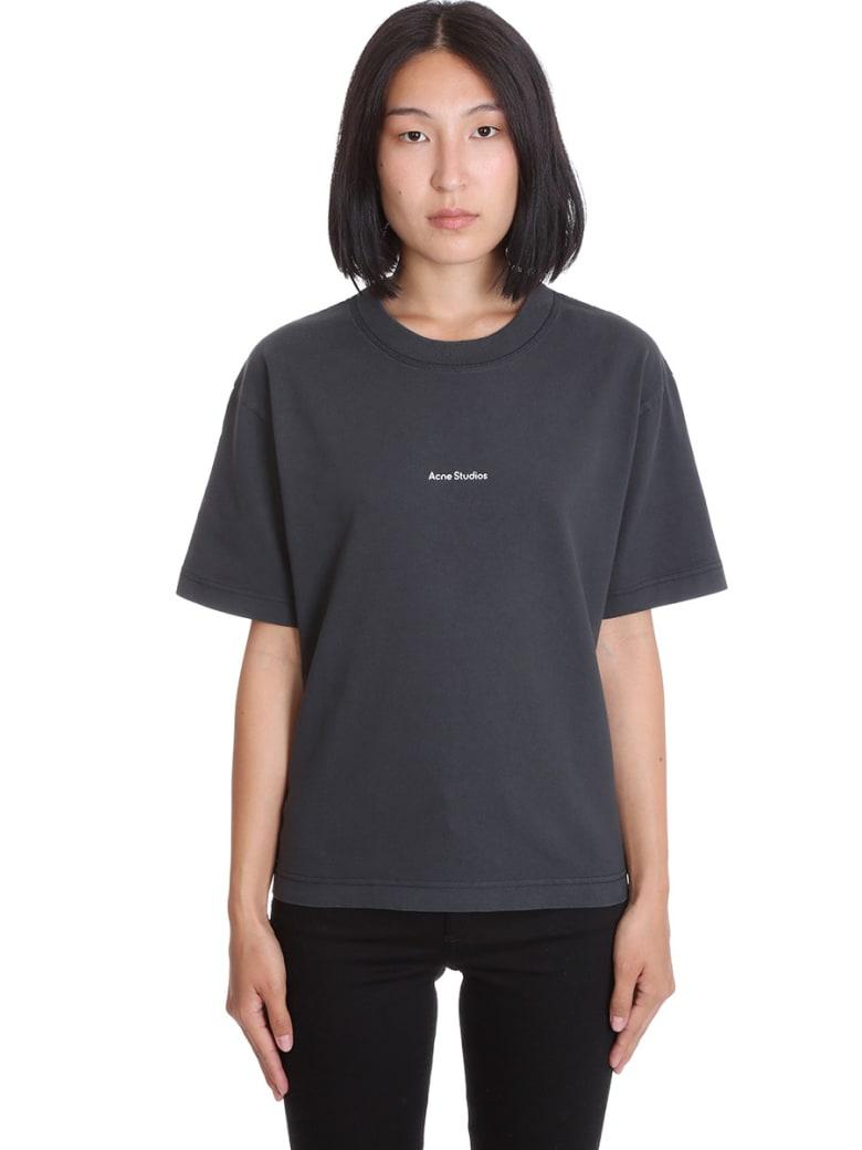 Acne Studios Edie Stamp T-shirt In Black Cotton - black