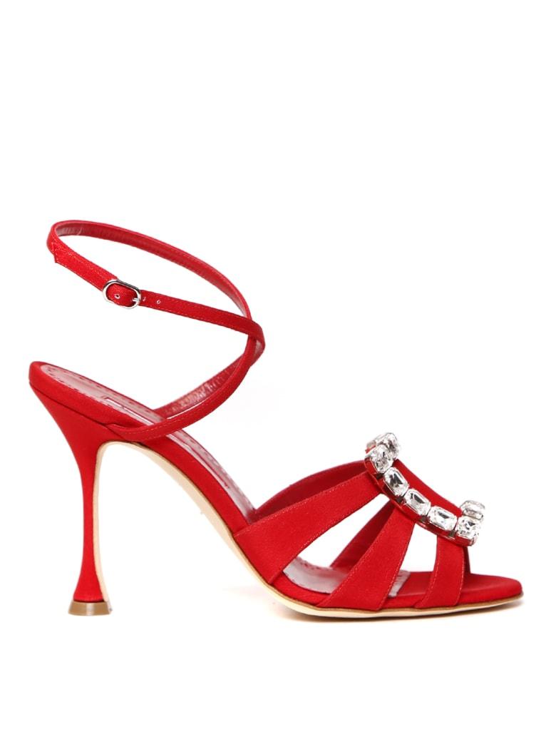Manolo Blahnik Red Ticuna Satin Sandal - Red