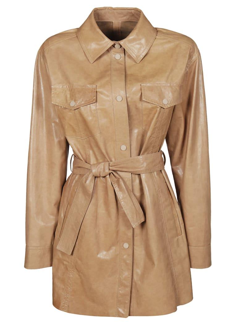 DROMe Belted Shirt Jacket - Beige