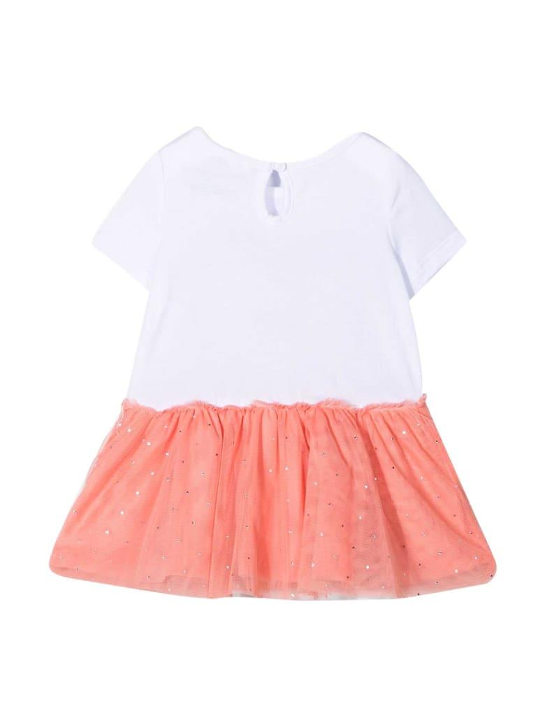 Stella McCartney Kids White Dress With Pink Print - Bianco