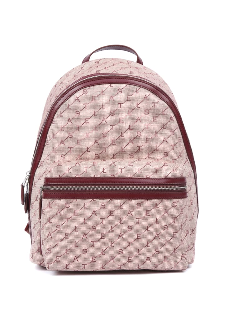 Stella McCartney Rose Canvas Backpack With Logo Stella All Over - Rose