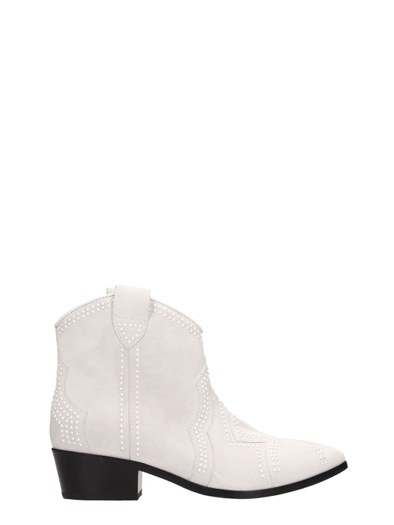 Janet & Janet Tex Suede Ankle Boots - white