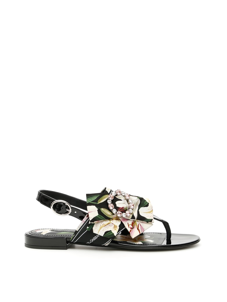Dolce & Gabbana Patent Sandals With Bow - GIGLI FDO NERO (Black)