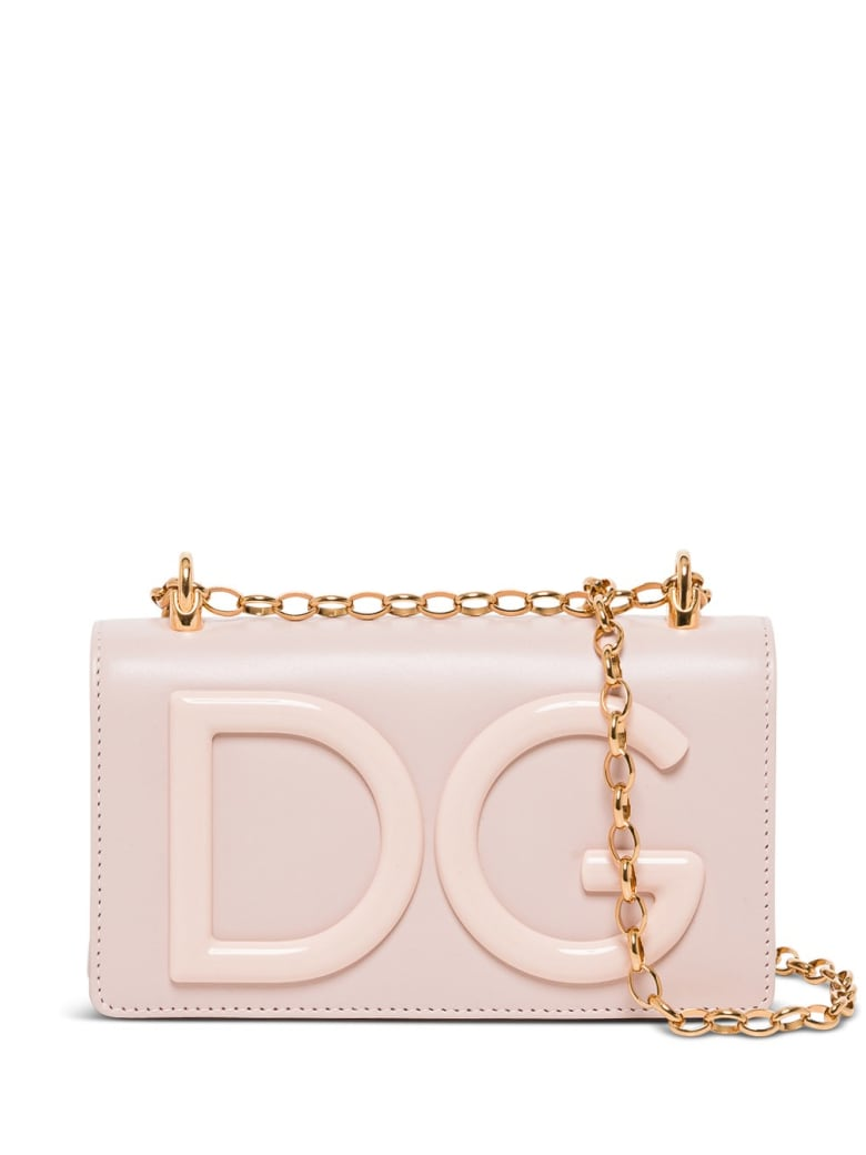 Dolce & Gabbana Dg Girls Crossbody Bag In Leather With Logo - Pink