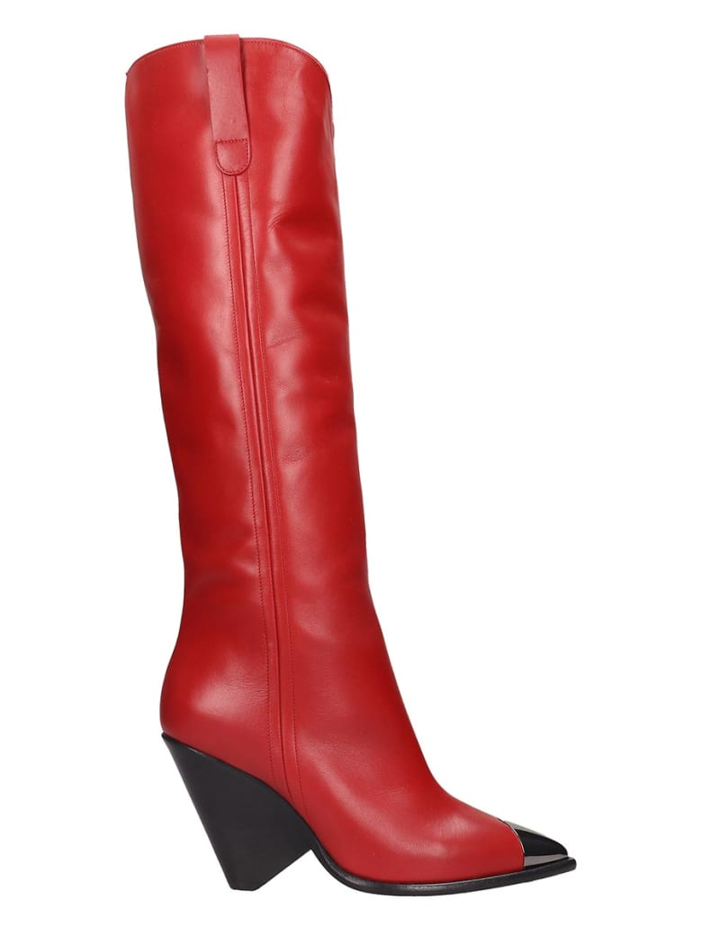 The Seller Low Heels Boots In Red Leather - red