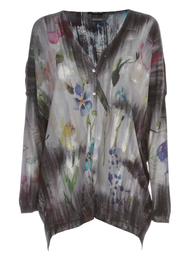 Avant Toi V Neck Flower Print Long Cardigan - Marmo