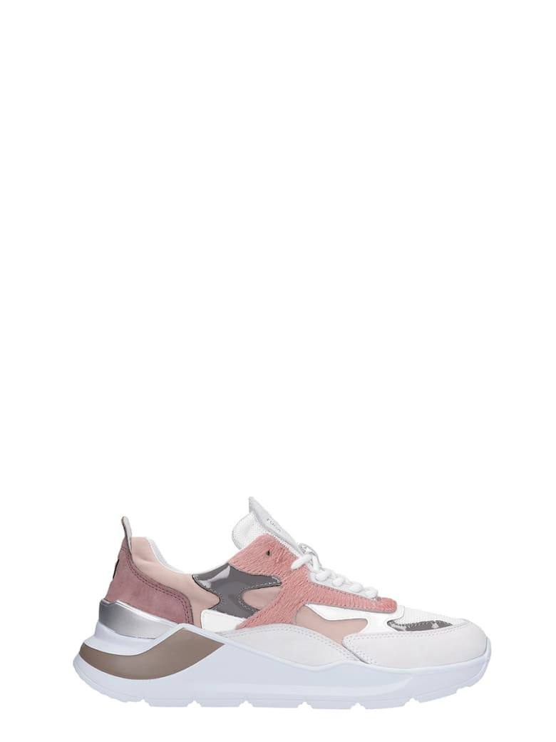 D.A.T.E. Fuga Sneakers In Rose-pink Synthetic Fibers - rose-pink