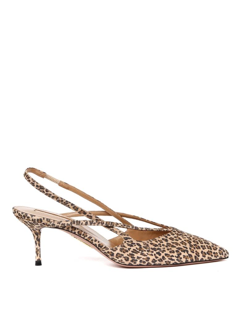 Aquazzura Soul Leopard Print Suede Leather Slingback - Leopard