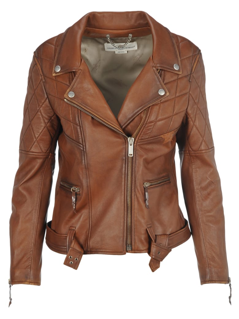 Golden Goose Chiodo Yasu Leather Jacket - BROWN