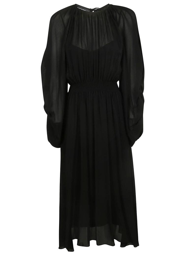 Rochas Long Oversized Pleated Dress - Black
