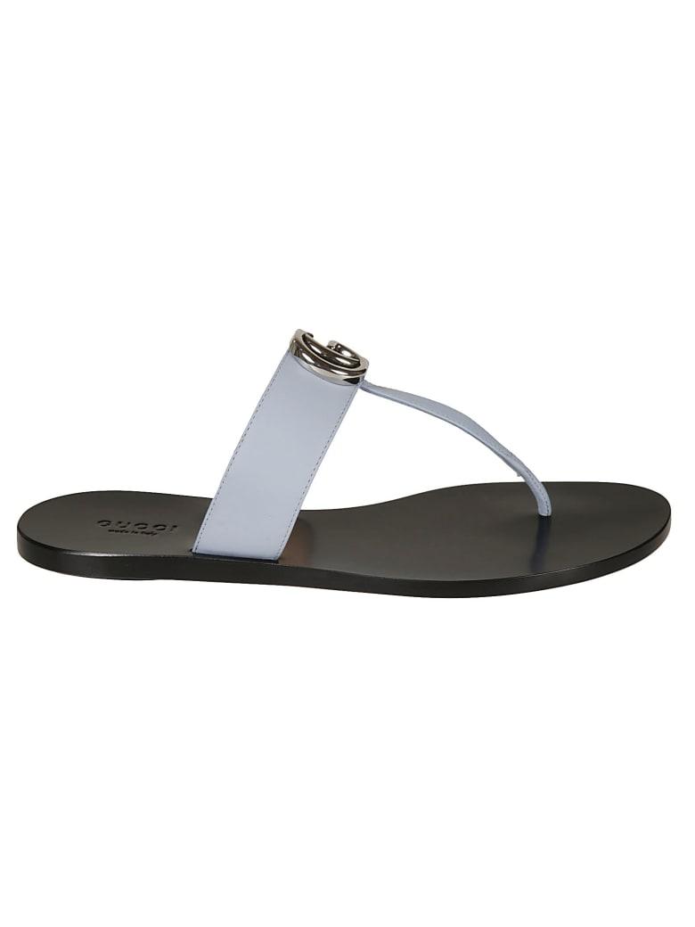 Gucci Plaque Logo Sandals - Black/Porcelain Blue