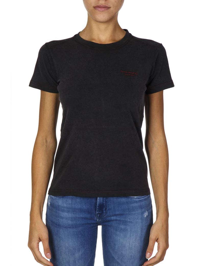 Acne Studios Black Cotton T-shirt With Embroidered Logo - Black