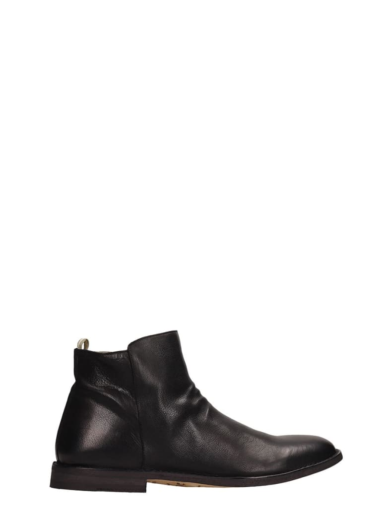Officine Creative Black Leather Ankle Boots - black