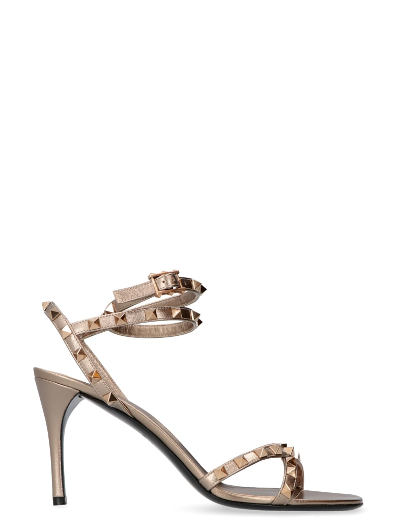 Valentino Valentino Garavani - Rockstud Flair Studded Leather Sandals - grey