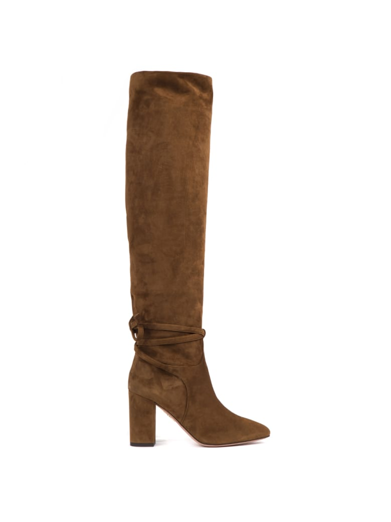 Aquazzura Suede Cinnamon Knee High Boots - Cinnamon