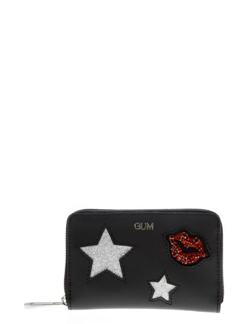 Gianni Chiarini Black Wallet With Glittered Decorations Applied - Black