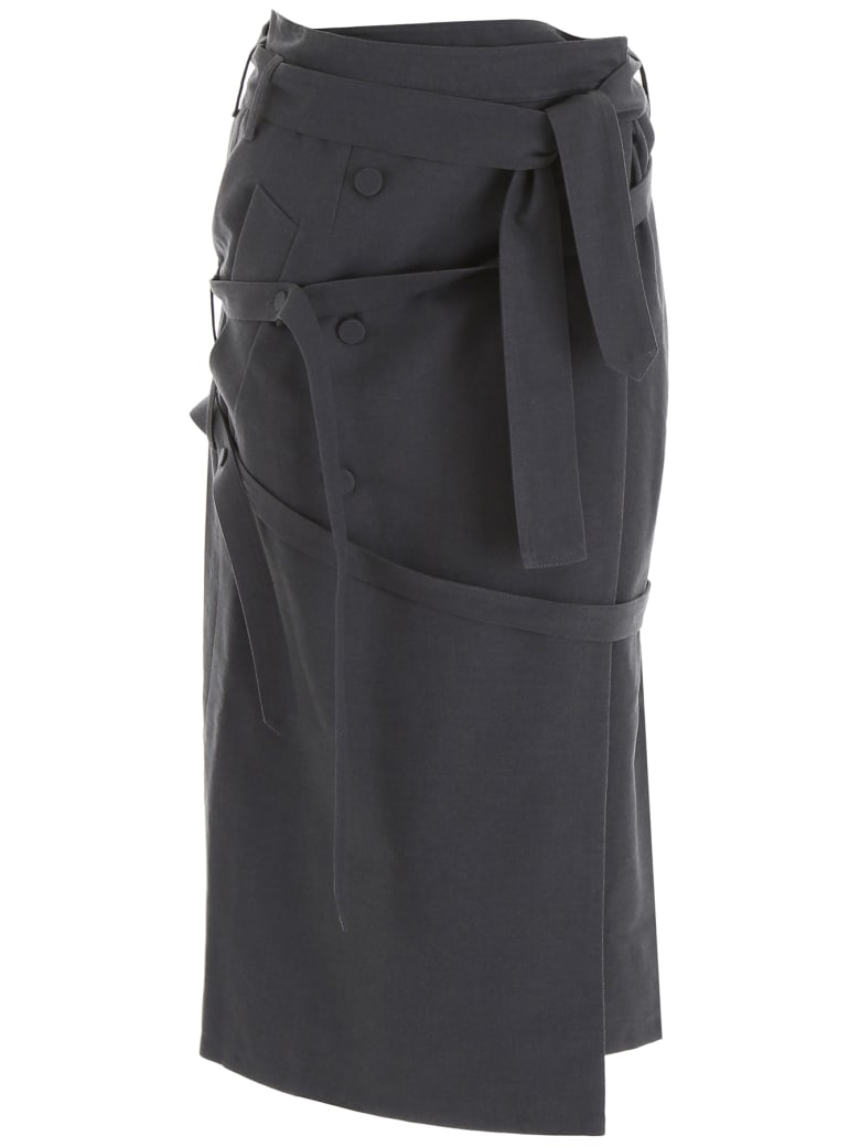 Rokh Wrap Midi Skirt - DARK GREY (Grey)