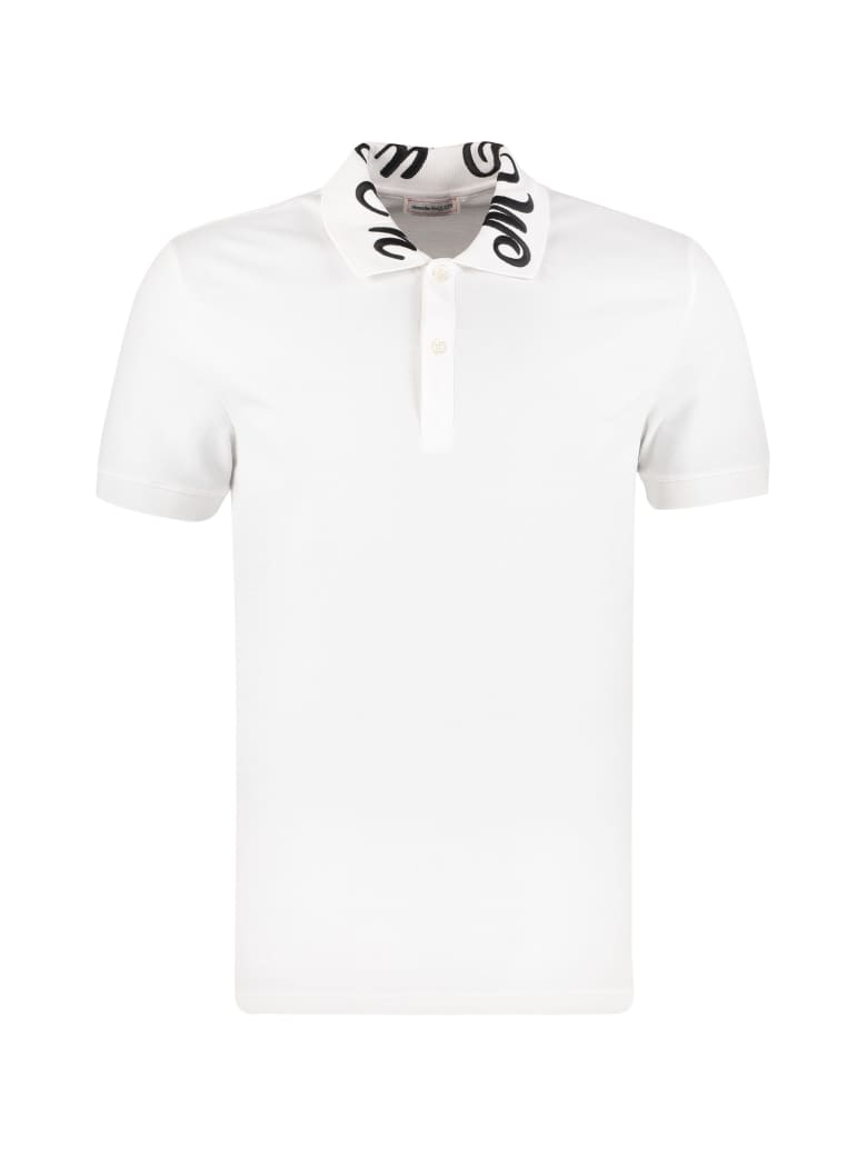 Alexander McQueen Embroidered Cotton-piqué Polo Shirt - White
