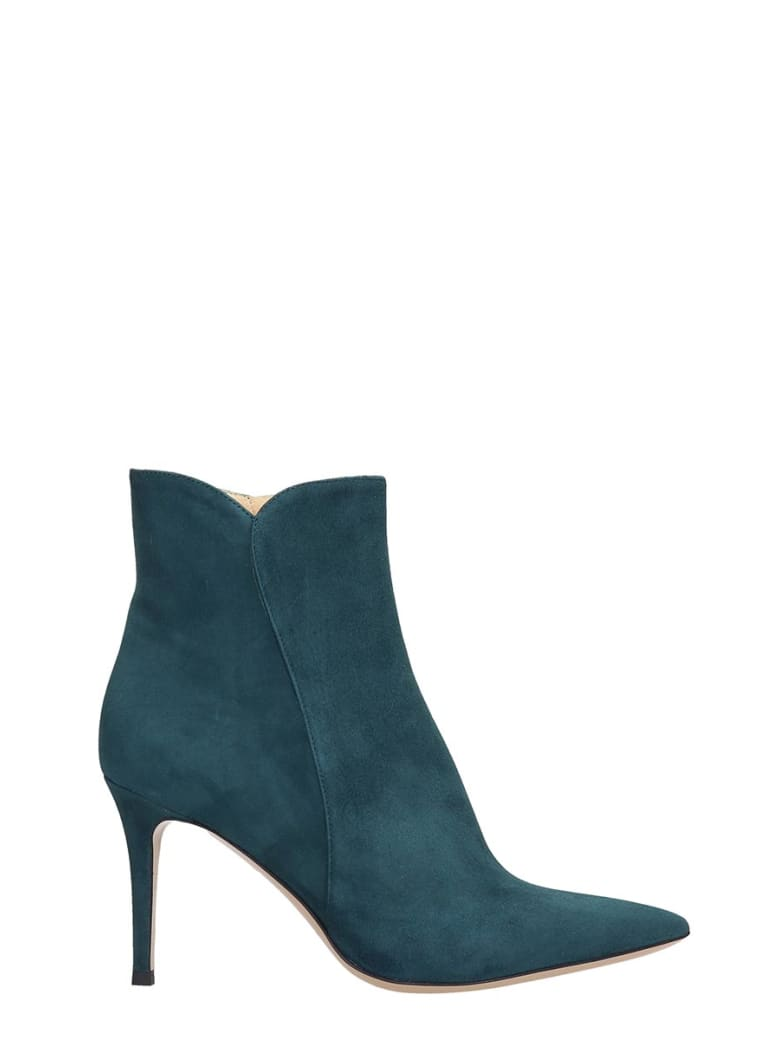 Fabio Rusconi High Heels Ankle Boots In Petroleum Suede - petroleum