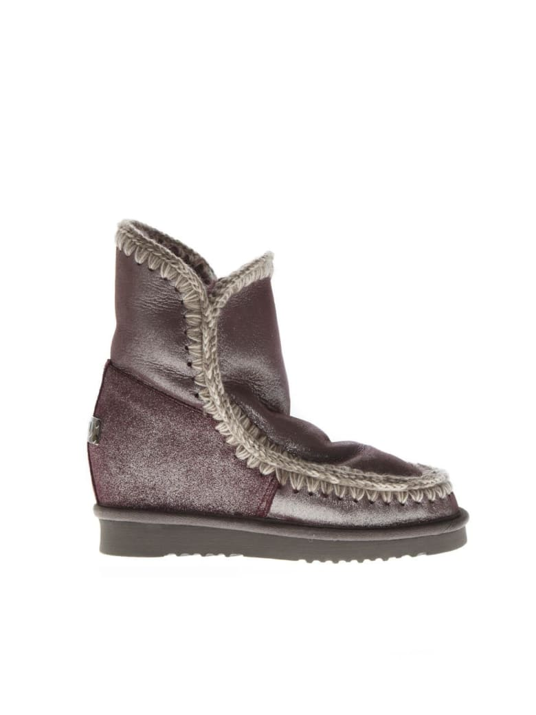 Mou Eskimo Wine Color Wool & Leather Boots - Wine