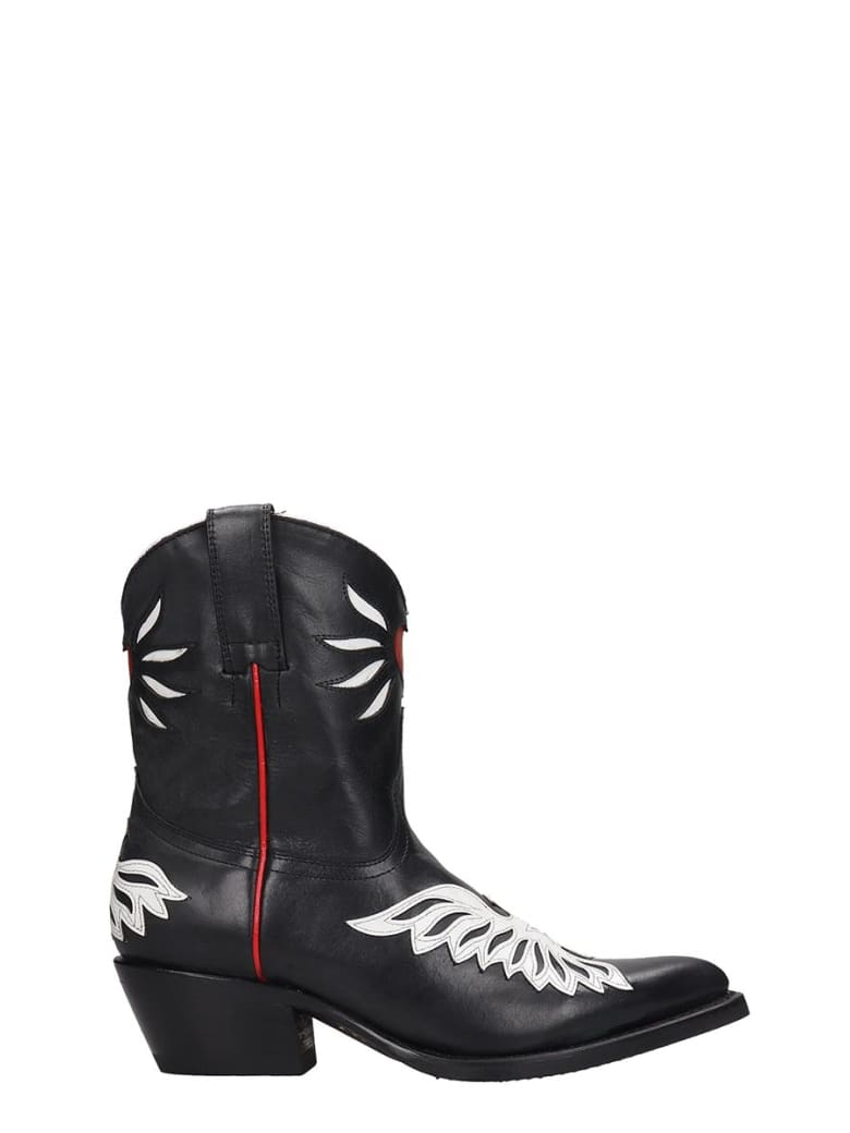 Ash Pablito01 Texan Ankle Boots In Black Leather - black